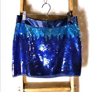 Express Design Studio Blue Sequin Mini Skirt